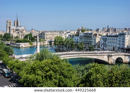 Panorama of Paris with Cathedral Notre Dame de Paris on the background. View from Arab World Institute. France. - stock photo