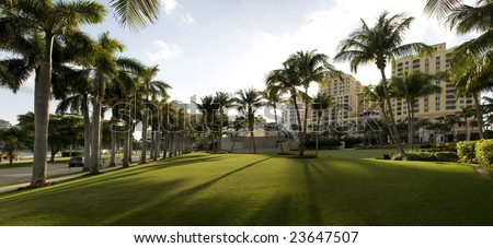 Panorama of Park in West Palm Beach, Florida. - stock photo