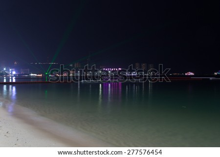 Panorama of Pattaya at night. Pattaya is a most popular tourist destination in Thailand. - stock photo