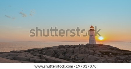 Panorama of Peggys Cove's Lighthouse at Sunset (Nova Scotia, Canada)