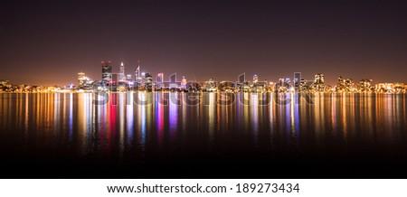 Panorama of Perth city skyline at night - stock photo