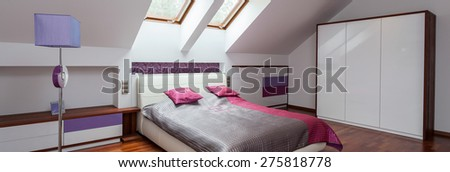 Panorama of pink, grey and violet interior - stock photo