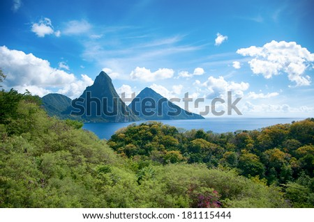 Panorama of Pitons at Saint Lucia, Caribbean  - stock photo
