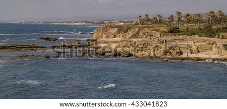 Panorama of Port ruins in Caesarea Maritima , called Caesarea Palestina from 133 AD onwards, was a city and harbor built by Herod the Great about 25-??13 BC.Mediterranean coast of Israel
