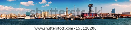 Panorama of Port Vell and Barceloneta district. Barcelona, Spain - stock photo