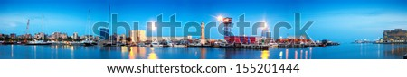 panorama of Port Vell in sunset. Barcelona - stock photo