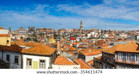 Panorama of Porto in Portugal in a beautiful summer day