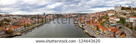 Panorama of Porto, Portugal. Evening time. - stock photo
