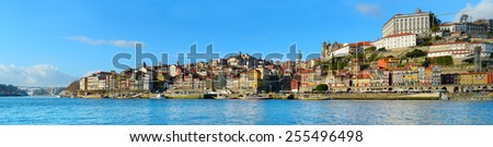 Panorama of Porto, Portugal. View from Gaia - stock photo