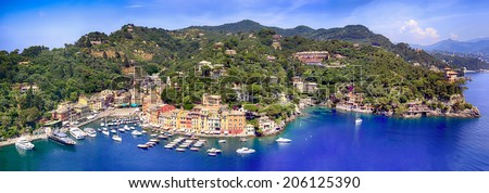Panorama of Portofino on the Italian Riviera. - stock photo