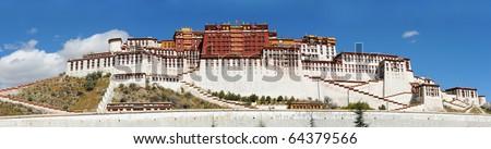 Panorama of Potala palace in Lhasa, Tibet - stock photo