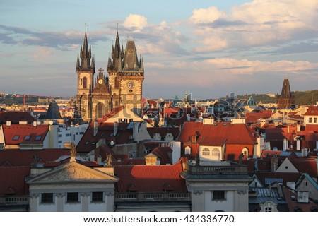 Panorama of Prague  - stock photo
