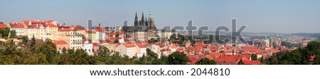Panorama of Prague catle, old town and the Hradcany district - stock photo