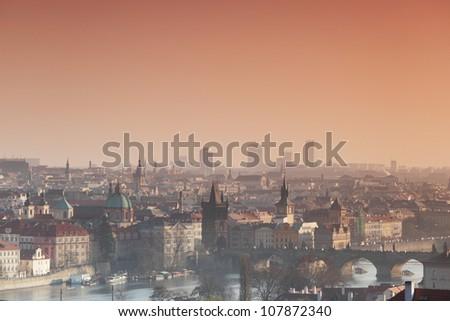 Panorama of Prague Czech Republic - stock photo
