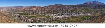Panorama of Putre, Chile - stock photo