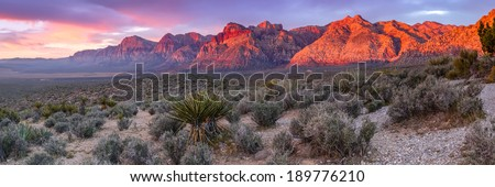 Panorama of Red Rock Canyon Las Vegas Nevada - stock photo