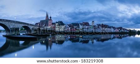 Panorama of Regensburg, Germany - stock photo