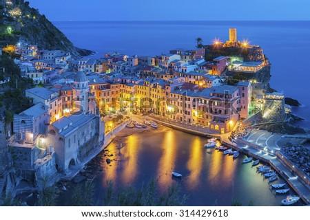 Panorama of resort village Vernazza, Cinque Terre, Italy  - stock photo