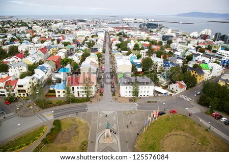 Panorama of Reykjavik, Iceland, as Seen from the Hallgrimskirkja Church - stock photo