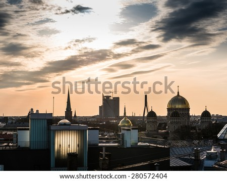 Panorama of Riga from one the buildings roof - stock photo