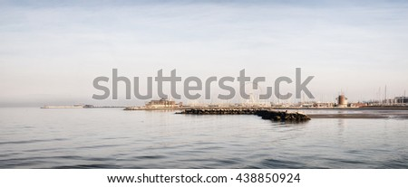 panorama of Rimini,Italy,at sunset in summer - stock photo