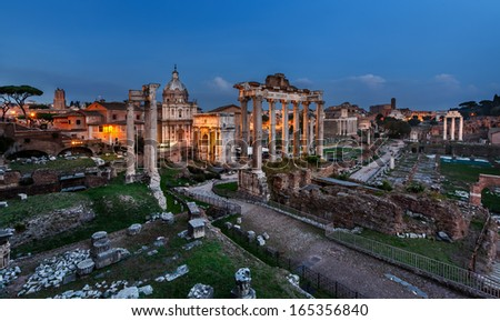 Panorama of Roman Forum (Foro Romano) in the Evening, Rome, Italy