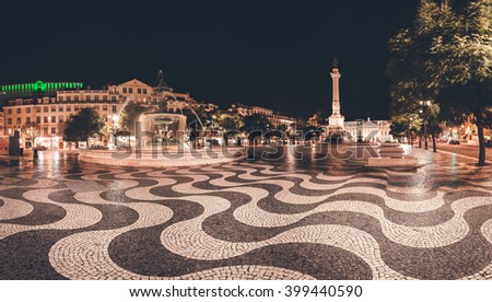 Panorama of Rossio Square in Lisbon, Portugal. - stock photo