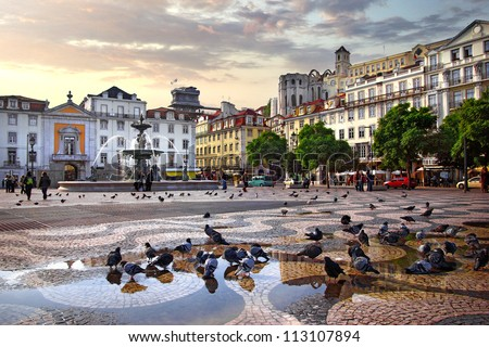 Panorama of Rossio Square in old downtown Lisbon, Portugal - stock photo