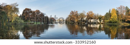 Panorama of Royal Palace on the Water in the Lazienki Park (Royal Baths) in Warsaw, Poland, - stock photo