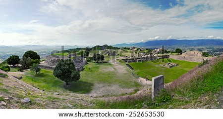 Panorama of ruins of the ancient Zapotec city Monte Alban - Oaxaca, Mexico, Latin America - stock photo