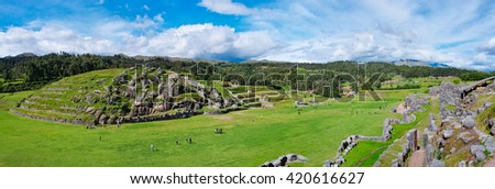 Panorama of Sacsayhuaman, Inca ruins in Cusco. Peru