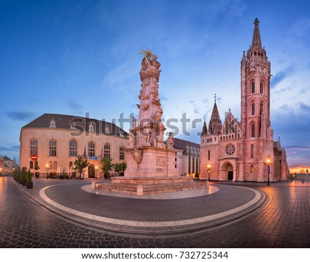 Panorama of Saint Matthias Church and Trinity Square in the Morning, Budapest, Hungary