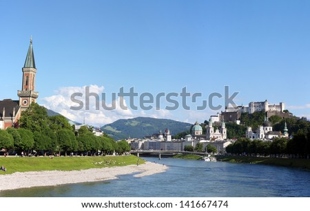 Panorama of Salzburg in sping time - stock photo