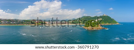 Panorama of San Sebastian in a sunny summer day - stock photo