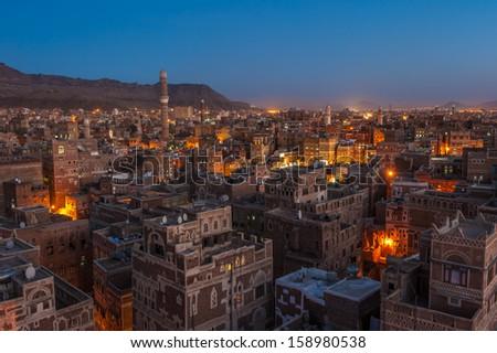 Panorama of Sanaa at night, Yemen - stock photo