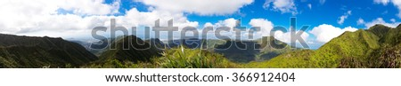 Panorama of scenery from the Koolau mountains, Hawaii, overlooking Honolulu, airport, and the south and west coast of the islnad - stock photo