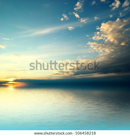 Panorama of sea sunset - stock photo