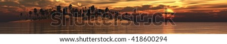 panorama of sea sunset on a tropical island, banner, 3D rendering - stock photo