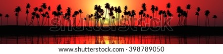 panorama of sea sunset over a tropical beach. light over palm 3D rendering, banner. - stock photo