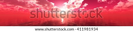 panorama of sea sunset, the view of the ocean sunrise, sunset at sea, tropical sunset. 3D rendering. - stock photo