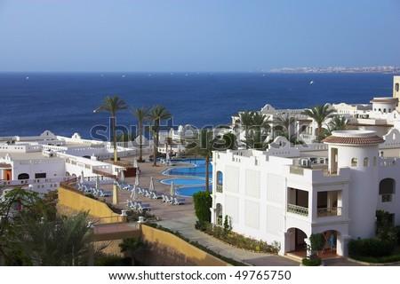 Panorama of sea view hotel - stock photo