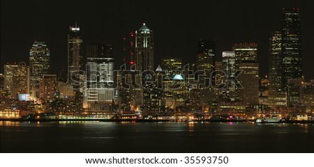 Panorama of Seattle at night, United States