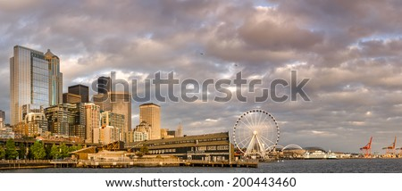 Panorama of Seattle from the Waterfront - stock photo