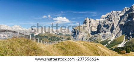 Panorama of Sella and Geisler mountains, South Tyrol, Italy