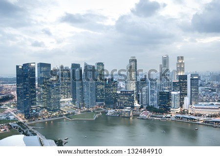 Panorama of  Singapore from Marina Bay Sands at dusk