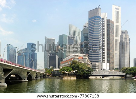 Panorama of Singapore in the sunshine day