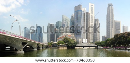 Panorama of Singapore in the sunshine day - stock photo