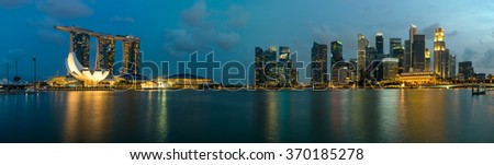 Panorama of Singapore skyscraper in marina bay at night