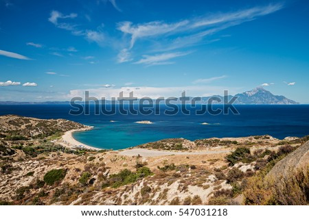 Panorama of Sithonia in summer, Chalkidiki peninsula, Greece