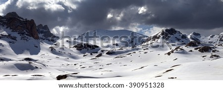 Panorama of snowy mountains and storm clouds. Turkey, Central Taurus Mountains, Aladaglar (Anti-Taurus), plateau Edigel (Yedi Goller) - stock photo